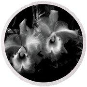 Midnight Orchids Round Beach Towel