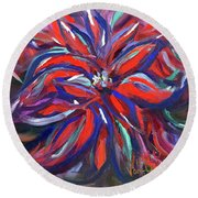 Midnight Poinsettia Round Beach Towel