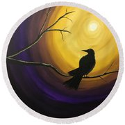 Midnight Raven Round Beach Towel