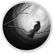 Midnight Raven Noir Round Beach Towel