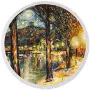 Midnight Reflections Round Beach Towel