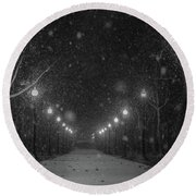 Midnight Snow Storm Round Beach Towel