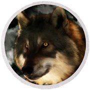 Midnight Stare - Wolf Digital Painting Round Beach Towel