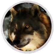 Midnight Stare - Wolf Digital Painting Round Beach Towel