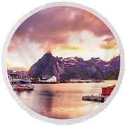 Round Beach Towel featuring the photograph Midnight Sun On Hamnoy by Dmytro Korol