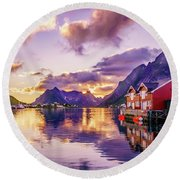 Midnight Sun Reflections In Reine Round Beach Towel