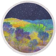 Midnight Trees Dream Round Beach Towel