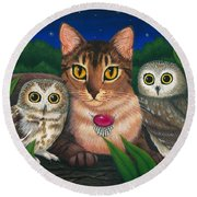 Round Beach Towel featuring the painting Midnight Watching - Abyssinian Cat Saw Whet Owls by Carrie Hawks