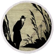 Midst Of All Was A Cold White Face Round Beach Towel