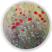 Midsummer Poppies Round Beach Towel by Dorothy Maier
