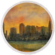 Midtown Morning Round Beach Towel