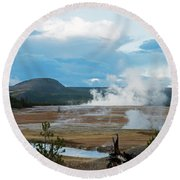 Midway Geyser Area Round Beach Towel by Cindy Murphy - NightVisions