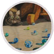 Round Beach Towel featuring the drawing Mighty Hunter by Karen Ilari