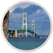 Mighty Mac Framed By Trees Round Beach Towel