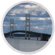 Mighty Mac The Mackinac Bridge Round Beach Towel
