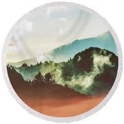Mighty Mountain Round Beach Towel