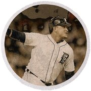 Miguel Cabrera Detroit Tigers Painting Round Beach Towel