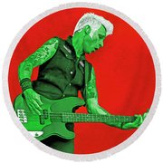 Mike Dirnt Green Day Round Beach Towel