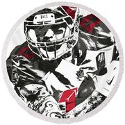 Round Beach Towel featuring the mixed media Mike Evans Tampa Bay Buccaneers Pixel Art by Joe Hamilton