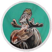Mike The Moose Round Beach Towel
