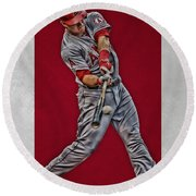 Mike Trout Los Angeles Angels Art 1 Round Beach Towel by Joe Hamilton