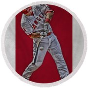 Mike Trout Los Angeles Angels Art 2 Round Beach Towel by Joe Hamilton