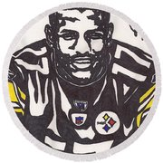 Round Beach Towel featuring the drawing Mike Wallace 1 by Jeremiah Colley
