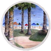 Mike's Hermosa Beach Round Beach Towel