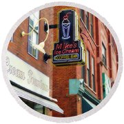 Round Beach Towel featuring the painting Mike's Ice Cream And Coffee Bar by Sandy MacGowan