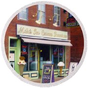 Round Beach Towel featuring the painting Mike's Ice Cream Fountain by Sandy MacGowan