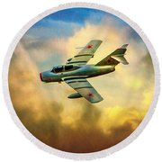 Round Beach Towel featuring the photograph Mikoyan-gurevich Mig-15uti by Chris Lord