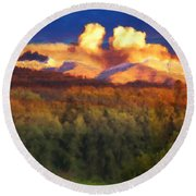 Milagro Cloud Theater Over Truchas Peaks Nm Round Beach Towel
