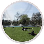 Round Beach Towel featuring the photograph Mild Summer Afternoon At Hyde Park Corner - London 2016 by Mudiama Kammoh