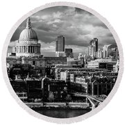 Milennium Bridge And St. Pauls, London Round Beach Towel