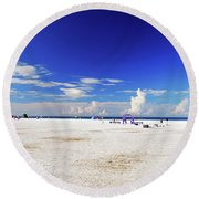 Round Beach Towel featuring the photograph Miles And Miles Of White Sand by Gary Wonning