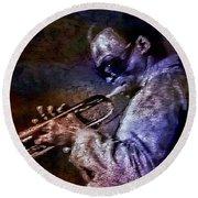 Miles Davis Jazz Legend 1969 Round Beach Towel