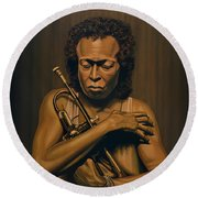 Miles Davis Painting Round Beach Towel