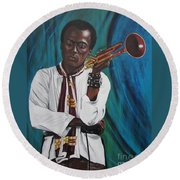 Miles-in A Really Cool White Shirt Round Beach Towel