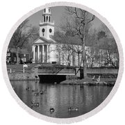 Milford Congregational Church Bw Round Beach Towel