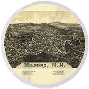 Milford New Hampshire 1886 Round Beach Towel