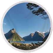 Round Beach Towel featuring the photograph Milford Sound Overlook by Gary Eason