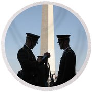 Military Ceremony At The Washington Monument Round Beach Towel