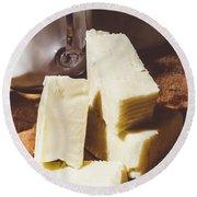 Milk And Cheese Round Beach Towel