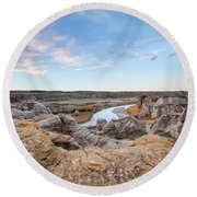 Round Beach Towel featuring the photograph Milk River Sun Up by Fran Riley