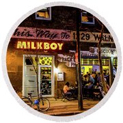 Round Beach Towel featuring the photograph Milkboy - 1033 by David Sutton