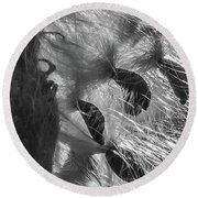 Milkweed Sunburst In Black And White Round Beach Towel