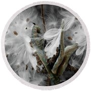 Milkweed Whisper Round Beach Towel