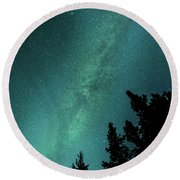 Milky Way Above The Trees Round Beach Towel