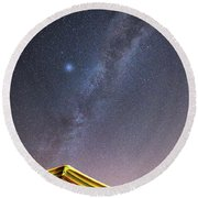 Milky Way And A Planet Over The Umbrella Round Beach Towel