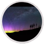 Round Beach Towel featuring the photograph Milky Way And Aurora Borealis by Cat Connor